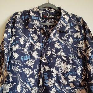 FUBU Silk Palm Tree Print Shirt